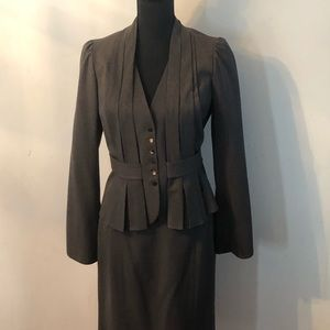 Rebecca Taylor Gray two piece skirt suit.